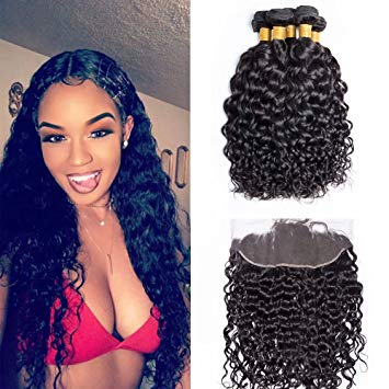 Enerual Beauty Hair Water Wave 3 Bundles with 13x6 Transparent Lace Frontal Brazilian - Enerual Beauty
