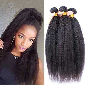 ENERUAL BEAUTY  Indian Kinky Straight Hair 100% Natural Human Hair Bundles 12