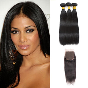 Enerual Beauty Hair Straight Brazilian Hair 7x7 Lace Closure With Bundles Hair - LUXURY FABULOUS COLLECTION