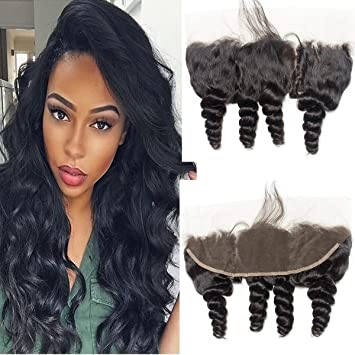 Enerual Beauty Hair Frontal 13*4 Lace Frontal Medium Brown/Transparent Brazilian Loose Wave - LUXURY FABULOUS COLLECTION