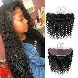 Enerual Beauty Hair Frontal 13*4 Lace Frontal Medium Brown/Transparent Brazilian Deep Wave - LUXURY FABULOUS COLLECTION