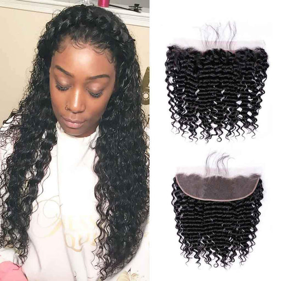 Enerual Beauty Hair Frontal 13*4 Lace Frontal Medium Brown/Transparent Brazilian Deep Curl - LUXURY FABULOUS COLLECTION