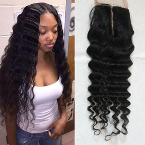 Enerual Beauty Hair Brazilian Transparent Lace 7x7 Closure Deep Wave  color natural - Enerual Beauty