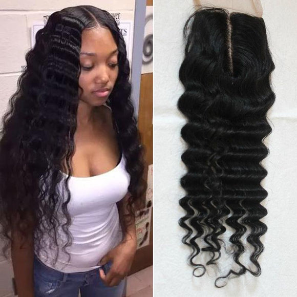 Enerual Beauty Hair Brazilian Transparent Lace 7x7 Closure Deep Wave  color natural - LUXURY FABULOUS COLLECTION