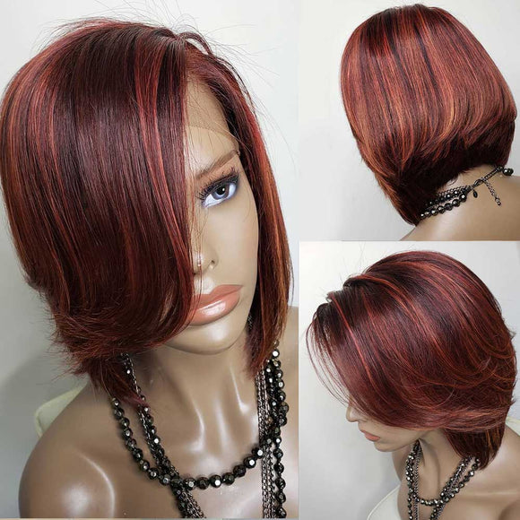 Ombre Red Highlight Bob Lace Front Human Hair Wig With Bang Straight 13X4   Pre Plucked 150%Density - LUXURY FABULOUS COLLECTION