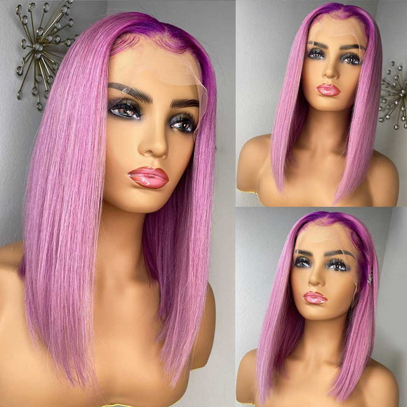 Ombre Blonde Purple Bob Straight Lace Front Brazilian Remy Hair 13X4 150 Density Closure Wig Black - LUXURY FABULOUS COLLECTION