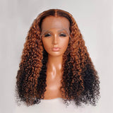 Ombre Curly Human Hair Wig 13X6 Lace Front Human Hair Wig For Women Black Natural 150%Density PrePlucked Lace Frontal Blonde Wig - LUXURY FABULOUS COLLECTION