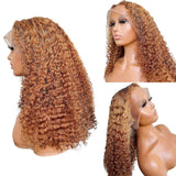 Curly Human Hair Wig 13X6 Deep Part Lace Front Human Hair Wig Pre Plucked 150% Density Remy - LUXURY FABULOUS COLLECTION