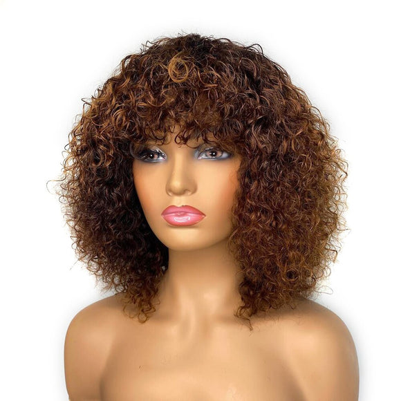 Curly Bob Lace Front Wig With Bang 150%Density Ombre Human Hair Wig With Baby Hair 13X4 Remy Plucked - Enerual Beauty