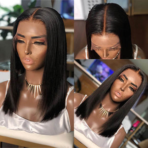 Short Bob Lace Frontal Wig Human Hair With Bangs 150% Density Straight 13X6 Deep Part Pre Plucked - Enerual Beauty