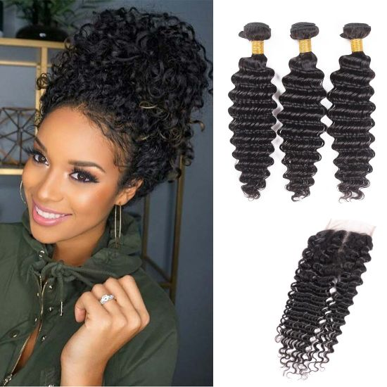 Enerual Beauty Hair Deep Wave Bundles With 4x4 Transparent/Medium Brown Lace Closure Brazilian - LUXURY FABULOUS COLLECTION