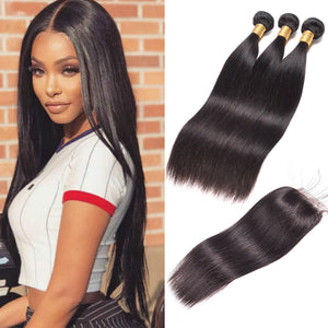 Enerual Beauty Hair Straight Bundles With 4x4 Transparent/Medium Brown Lace Closure Brazilian - LUXURY FABULOUS COLLECTION