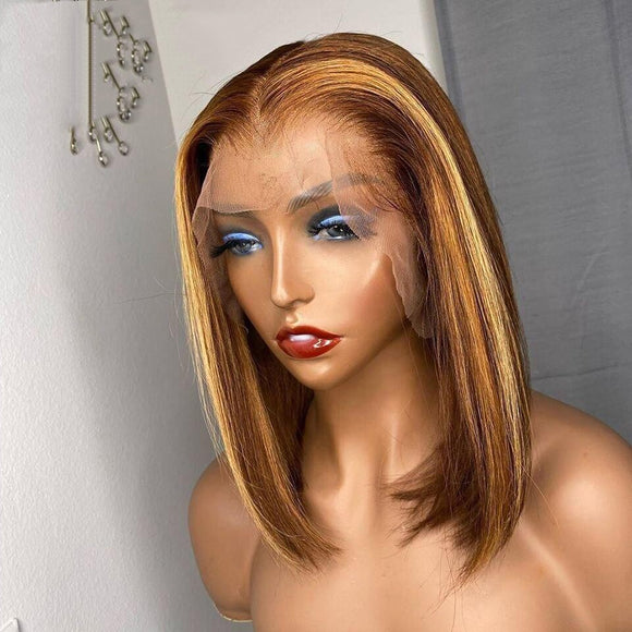 Highlight Wig Dark Brown Ombre Blonde Straight Lace Front Bob Human Hair Wig Colored 150% Density - Enerual Beauty