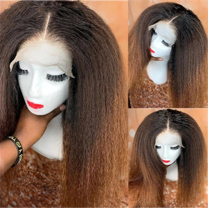 Brazilian Kinky Straight Wig Lace Front Human Hair Wig Yaki 150% Density Remy Hair 13x4 13x6 - Enerual Beauty