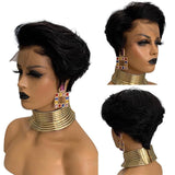 Short Pixie Cut Bob Lace Front Wig 150% Density Natural Straight 13X4 Closure Pre Plucked Baby Hair - LUXURY FABULOUS COLLECTION