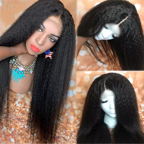 13x6 Kinky Straight Lace Front Human Hair Wigs PrePlucked With Baby Hair Italian Yaki 150% Density - LUXURY FABULOUS COLLECTION