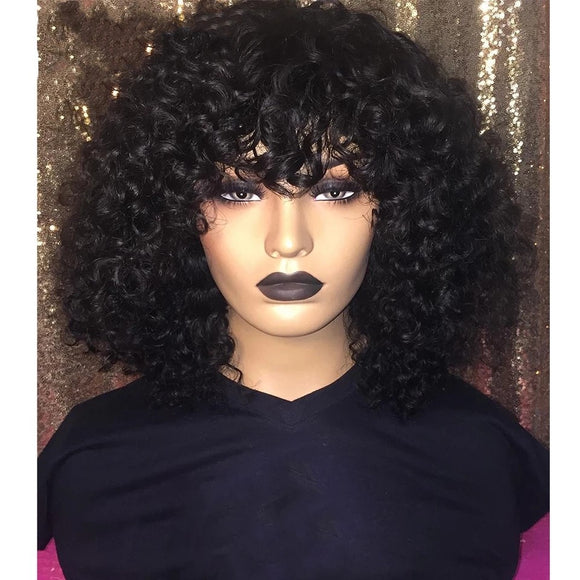 Curl Human Hair Bob Lace Front Wig With Bangs 150% Density 13x4 Remy Pre Plucked Short Brazilian Wig - LUXURY FABULOUS COLLECTION