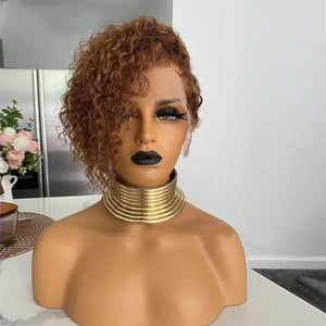 Blonde Curly Human Hair Wig With Bangs 150% Pixie Cut Bob 13X4 Lace Front Human Hair Wig Short Remy - LUXURY FABULOUS COLLECTION