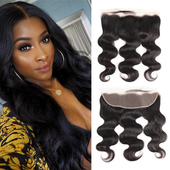 Enerual Beauty Hair Frontal 13*4 Lace Frontal Medium Brown/Transparent Brazilian Body Wave - Enerual Beauty