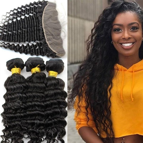 Enerual Beauty Hair 13*4 Transparent Lace Frontal /Medium Brown Deep Wave With Frontal Brazilian - Enerual Beauty