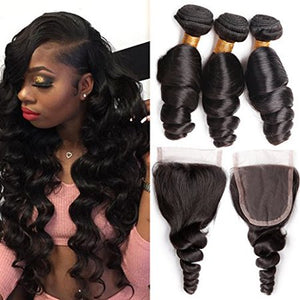Enerual Beauty Hair Loose Wave Bundles With 4x4 Transparent/Medium Brown Lace Closure Brazilian - LUXURY FABULOUS COLLECTION