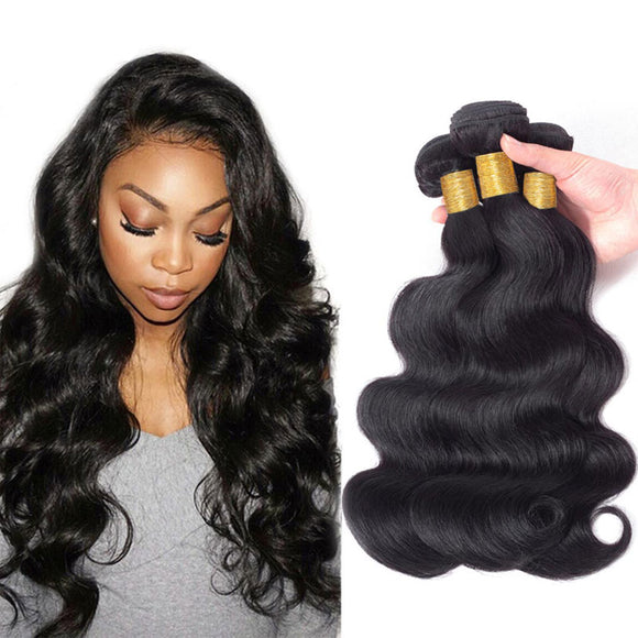 ENERUAL BEAUTY Indian Hair Body Wave Human Hair Bundles Weave 8-30inch 1/3/4 Pc - Enerual Beauty