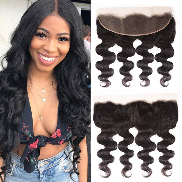 Enerual Beauty Hair 13*6 Transparent Lace Frontal Body Wave Human Hair Pre Plucked Brazilian - Enerual Beauty
