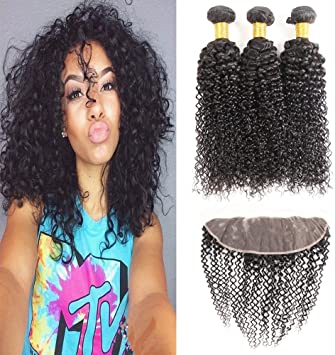 Enerual Beauty Hair 13*4 Transparent Lace Frontal /Medium Brown Afro Kinky With Frontal Brazilian - Enerual Beauty
