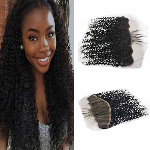 Enerual Beauty Hair Frontal 13*4 Lace Frontal Medium Brown/Transparent Brazilian Jerry Curl - LUXURY FABULOUS COLLECTION
