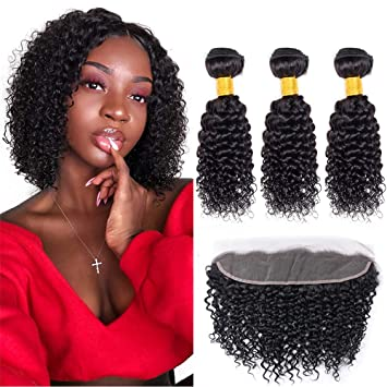 Enerual Beauty Hair 13*4 Transparent Lace Frontal /Medium Brown Kinky Curl With Frontal Brazilian - Enerual Beauty