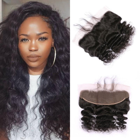 Enerual Beauty Hair 13*6 Transparent Lace Frontal Loose Wave Human Hair Pre Plucked Brazilian - LUXURY FABULOUS COLLECTION