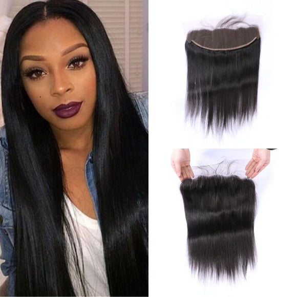 Enerual Beauty Hair 13*6 Transparent Lace Frontal straight Human Hair Pre Plucked Brazilian - Enerual Beauty
