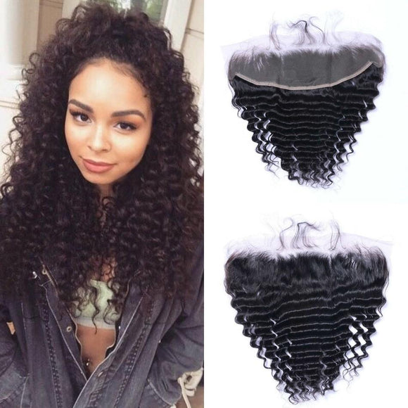 Enerual Beauty Hair 13*6 Transparent Lace Frontal Deep Wave Human Hair Pre Plucked Brazilian - Enerual Beauty