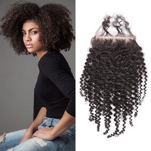 Enerual Beauty Hair closure 5x5 Afro kinky hair lace transparent / medium brown human Brazilian - Enerual Beauty