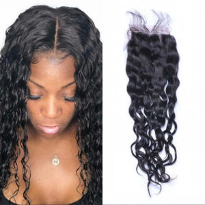Enerual Beauty Hair closure 5x5 Water Wave lace transparent / medium brown human Brazilian - Enerual Beauty