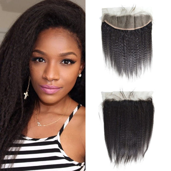 Enerual Beauty Hair Frontal 13*4 Lace Frontal Medium Brown/Transparent Brazilian Kinky Straight - Enerual Beauty