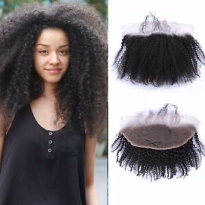 Enerual Beauty Hair 13*6 Transparent Lace Frontal Afro Kinky Human Hair Pre Plucked Brazilian - LUXURY FABULOUS COLLECTION