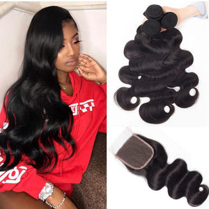 Enerual Beauty Hair Bundles With 6x6 Closure Transparent Lace Brazilian Straight Hair - LUXURY FABULOUS COLLECTION