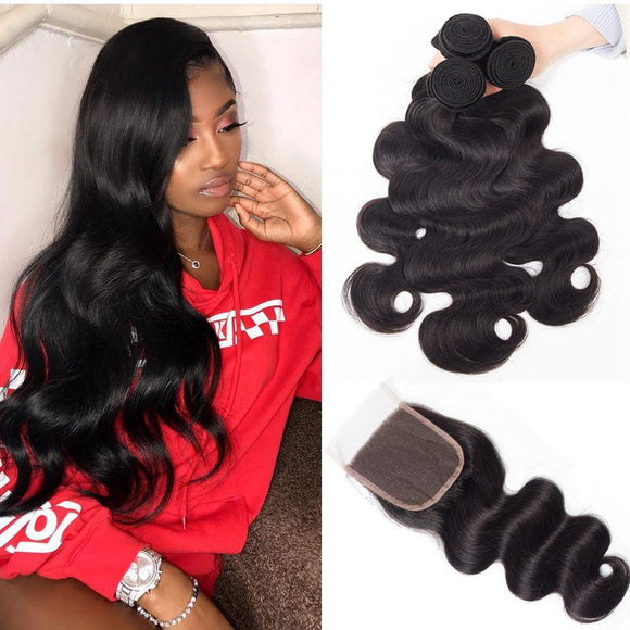 Enerual Beauty Hair Bundles With 6x6 Closure Transparent Lace Brazilian Straight Hair - Enerual Beauty