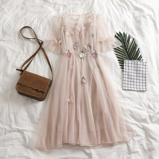 Soft Kawaii Floral Vintage Dress
