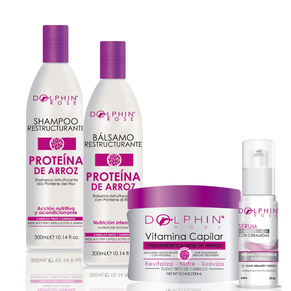 KIT LÍNEA PROTEÍNA DE ARROZ X 300ML + SERUM REPARADOR x60ml - DOLPHIN ROSE
