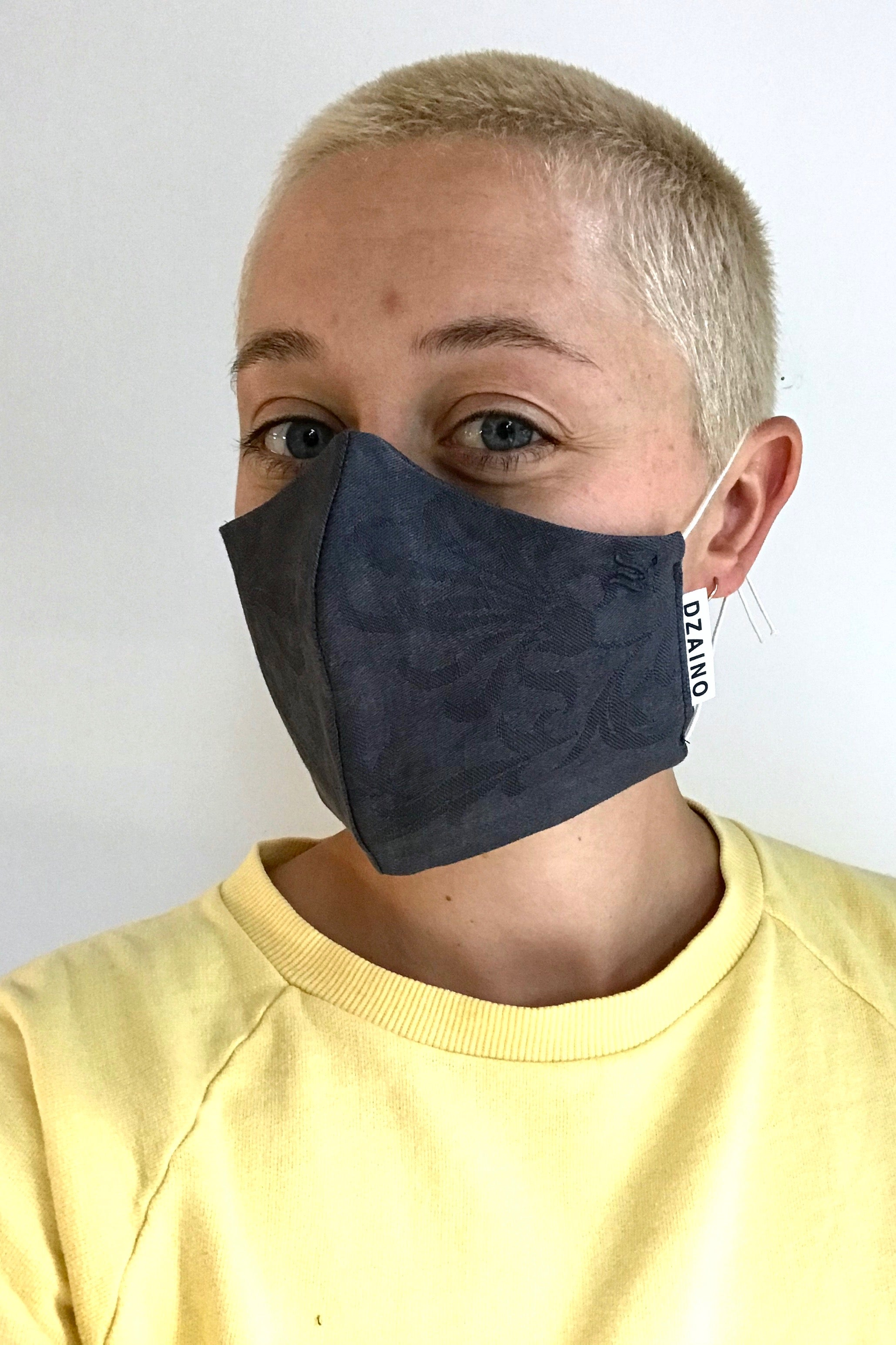 Mask Black woven pattern with elastic cords