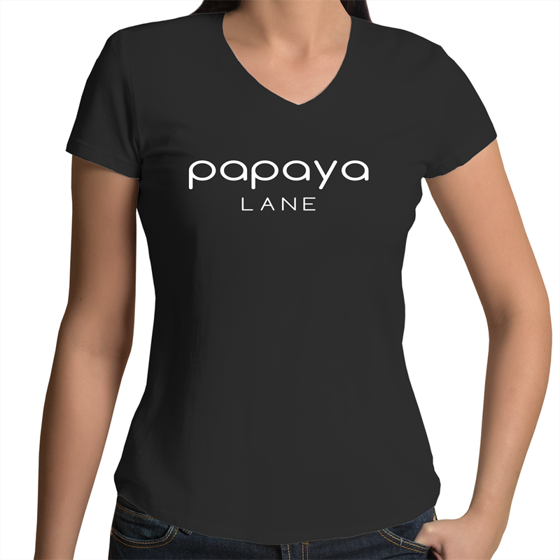 Large Logo 100% Cotton  V-neck T-shirt PLS018AU - Papaya Lane