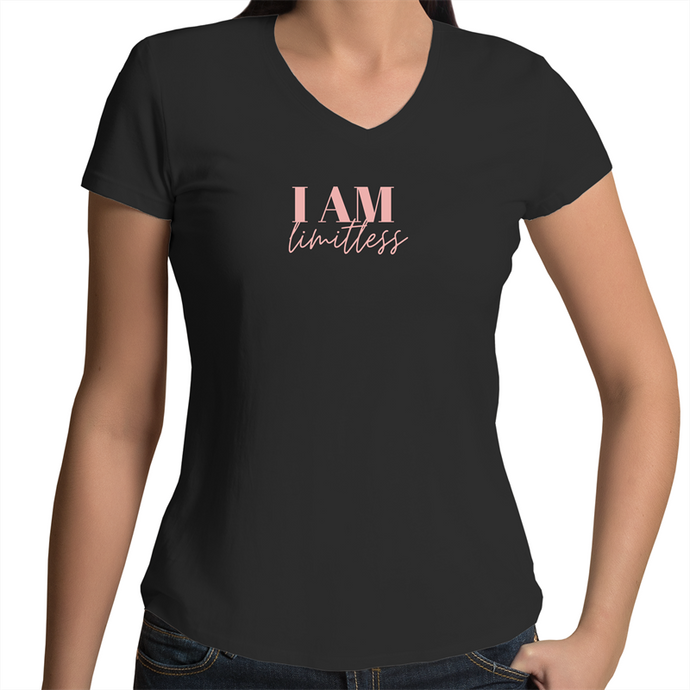 I Am Limitless AS Colour V-Neck Organic Black T-shirt - PLL019AU