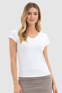 Belle V Neck White Bamboo Body T-shirt - Papaya Lane