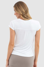 Load image into Gallery viewer, Belle V Neck White Bamboo Body T-shirt - Papaya Lane