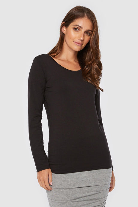 Christina Long Sleeve Scoop Neck Top - Bamboo Body