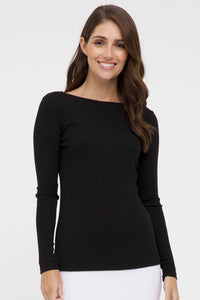 Black Ribbed Boatneck Top Front