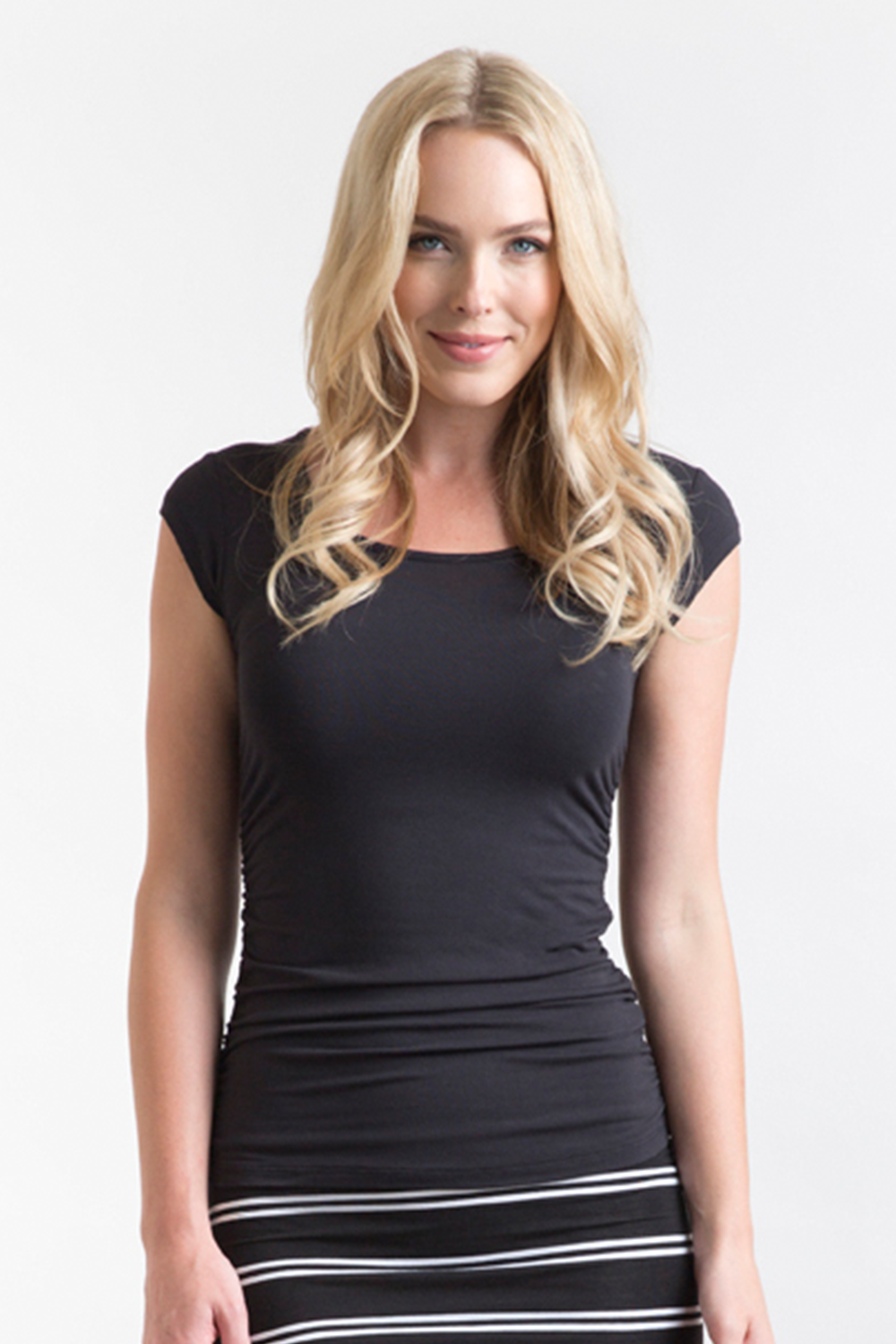 Ruched Bamboo Black Tee - Bamboo Body