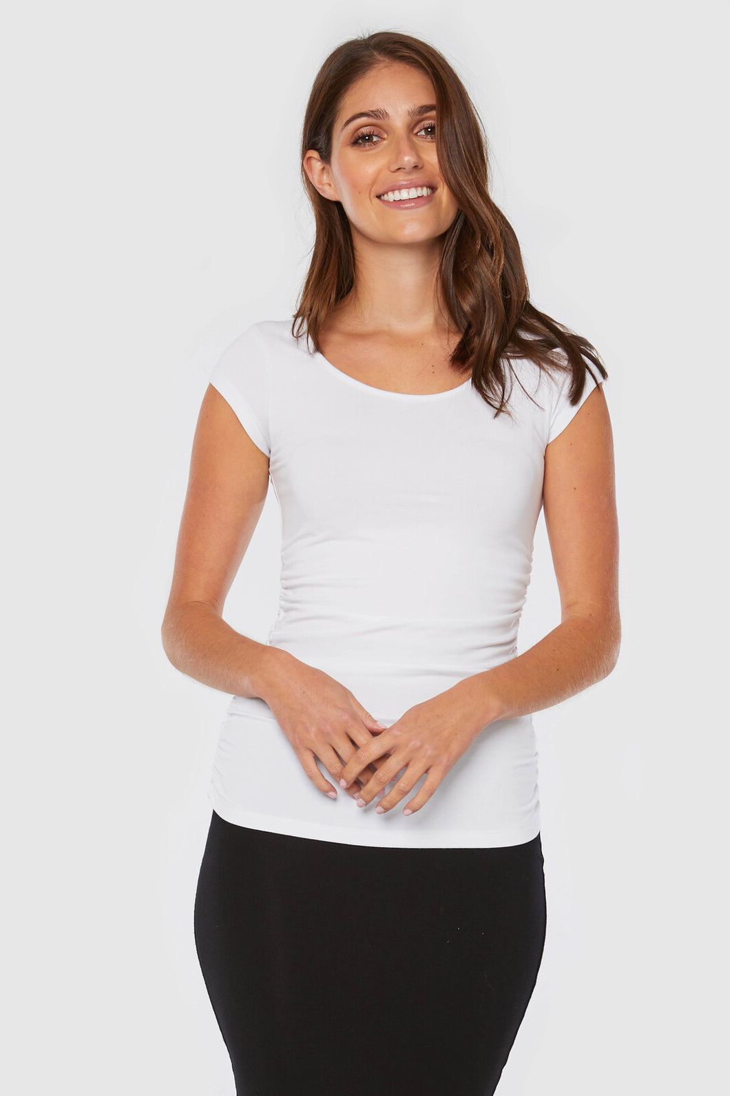 Ruched Bamboo White Tee - Bamboo Body - Papaya Lane